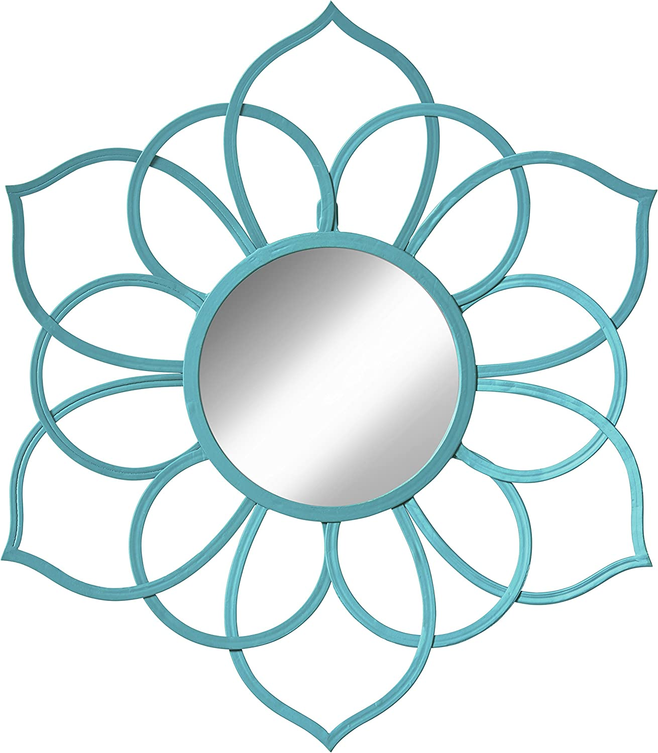 Kate and Laurel Brienne Metal Flower Round Wall Accent Mirror, Teal