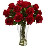 Nearly Natural 1328-RD Blooming Roses with Vase, Red