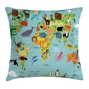 Ambesonne Wanderlust Throw Pillow Cushion Cover, Animal Map of The World for Children Kids Cartoon Mountains Forests, Decorative Square Accent Pillow ...