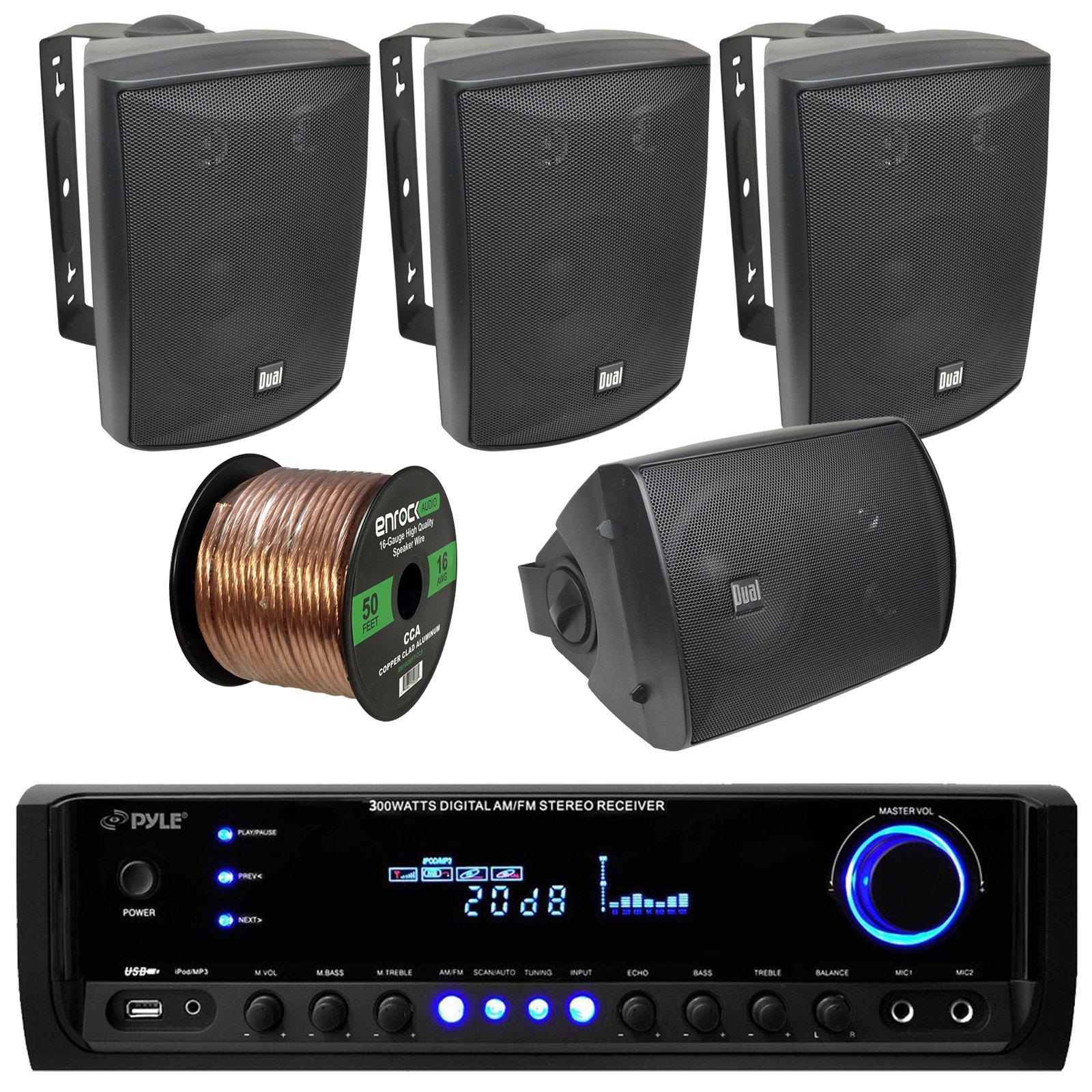 Pyle PT390BTU Bluetooth Digital Home Theater 300-Watt Stereo Receiver Bundle Combo With 4x Dual-Electronics LU53PB 125 Watt 3-way Black Indoor/Outdoor Speakers + Enrock 50ft 16g Speaker Wire by EnrockAudioBundle