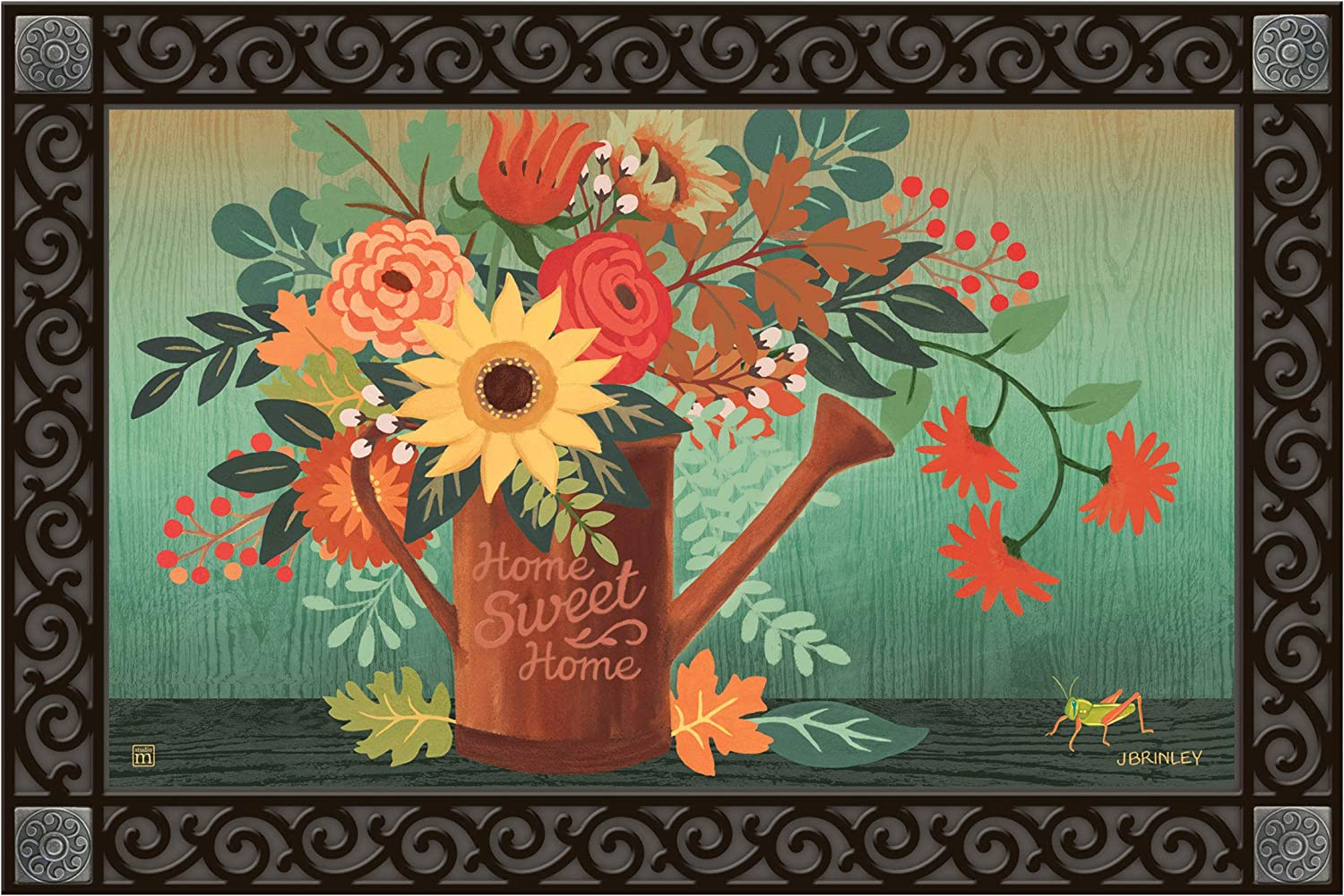 Studio M MatMates Autumn Sunrise Fall Decorative Floor Mat Indoor or Outdoor Doormat with Eco-Friendly Recycled Rubber Backing, 18 x 30 Inches