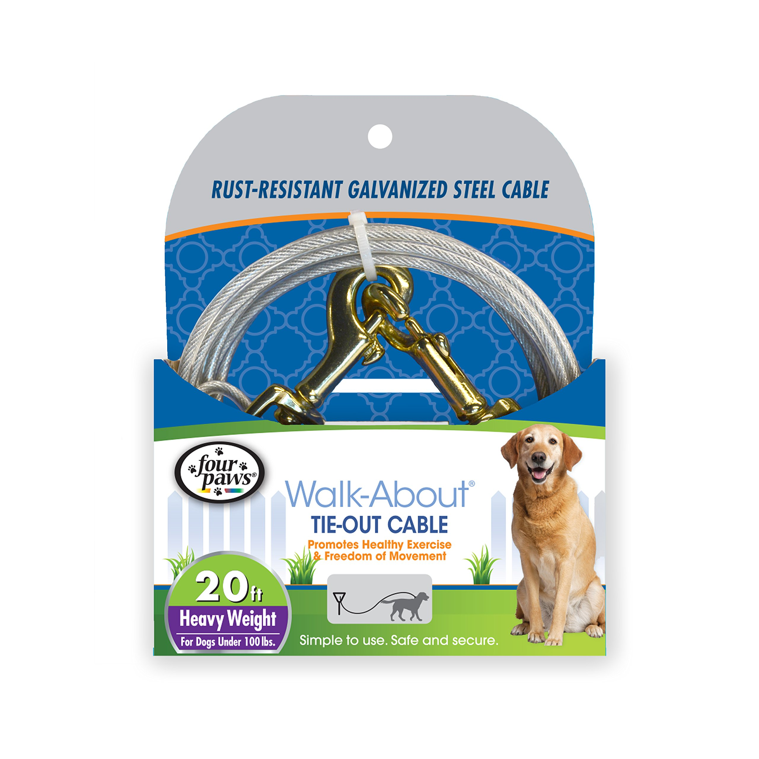 Four Paws Heavy Duty Dog Cable, 20-Foot Large Dog Tie Out Cable, Silver by Four Paws