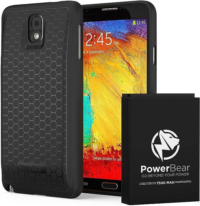 PowerBear Batería Extendida Compatible para Galaxy Note 3 [7.500mAh], Cubierta Trasera y Carcasa Protectora (hasta 2,3X de Potencia de Batería ...