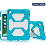 iPad Mini 4 Case, Aceguarder New Design iPad Mini 4 Cover Kids Proof Shockproof Full Body Protective Cover Case With Stand Super Protection for iPad Mini 4 (Light Blue-White)