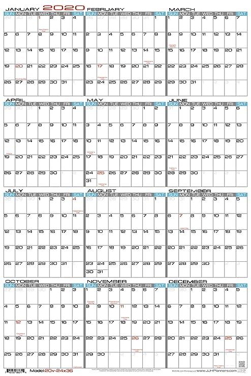 Annual 2020 Calendar Amazon.: JJH Planners   Laminated   24