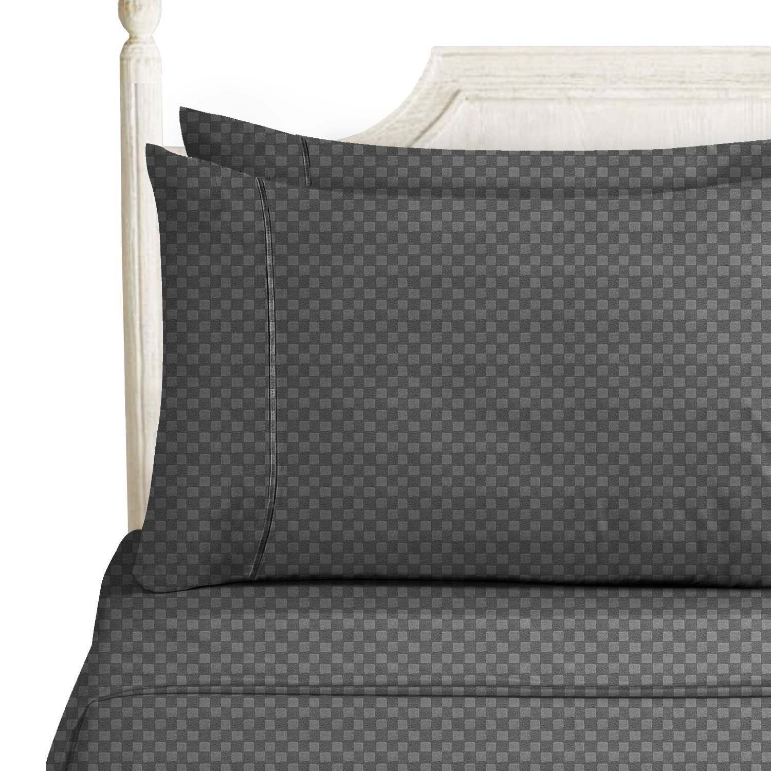 Bed Sheet Bedding Set, Queen, Charcoal Stone Gray, Elegant Checkerboard Design - 2000 Luxury Bedding Collection