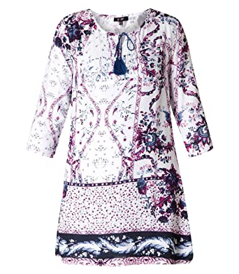 241a2be55821 Folklore Tunika Damen lang Blumenmuster elegant 3/4 Ärmel große Größen Lila  Blau Weiß von Yesta Shirt Oberteil festlich Sommer Longshirt Bluse:  Amazon.de: ...