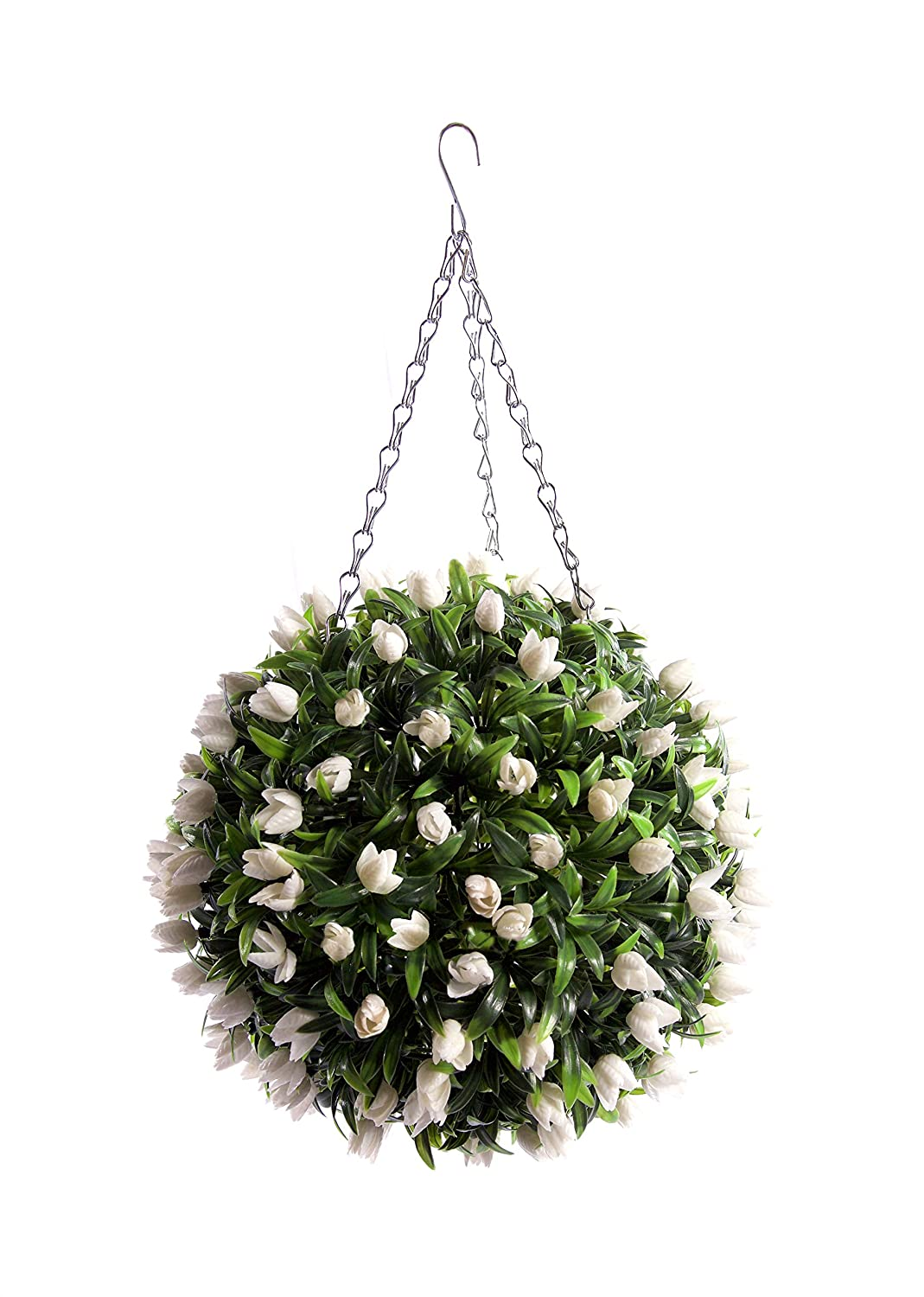 Best Artificial (TM 30cm Ivory White TULIP Flower Ball Lush Long Leaf Topiary Grass