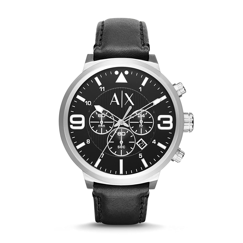 6c0e9860e Amazon.com: Armani Exchange Men's AX1371 Black Leather Watch: Armani  Exchange: Watches