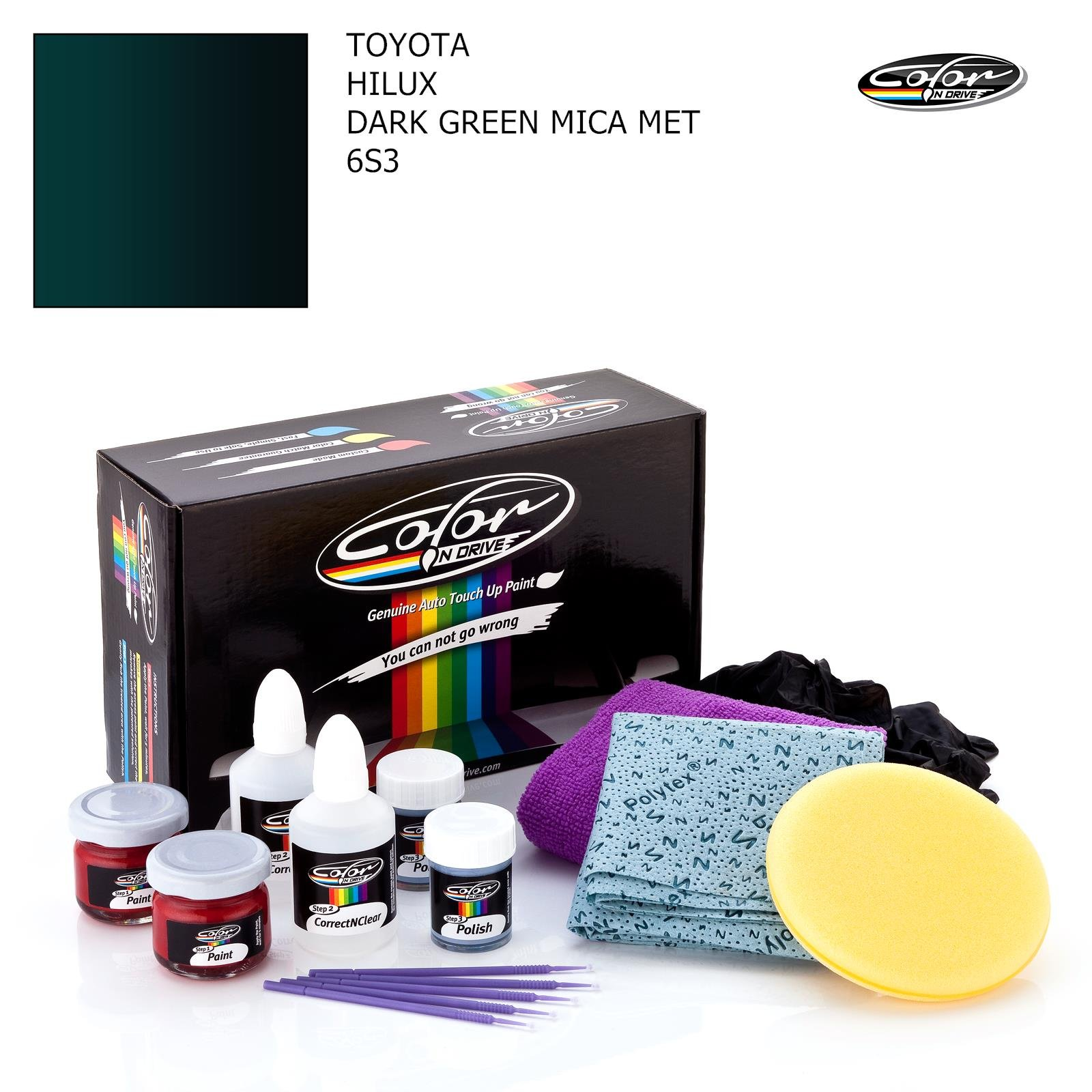TOYOTA HILUX / DARK GREEN MICA MET - 6S3 / COLOR N DRIVE TOUCH UP PAINT SYSTEM FOR PAINT CHIPS AND SCRATCHES / PRO PACK