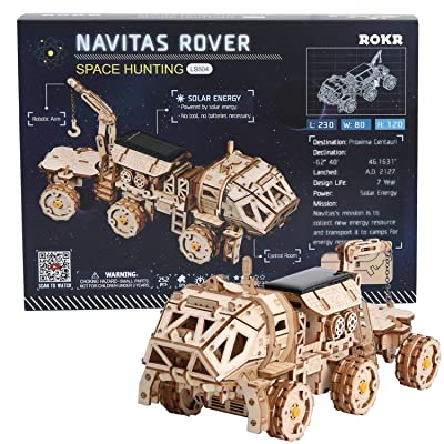ROKR 3D Wooden Puzzle Solar Power Toy STEM Project (NAVITAS Rover): Toys & Games [5Bkhe0301613]