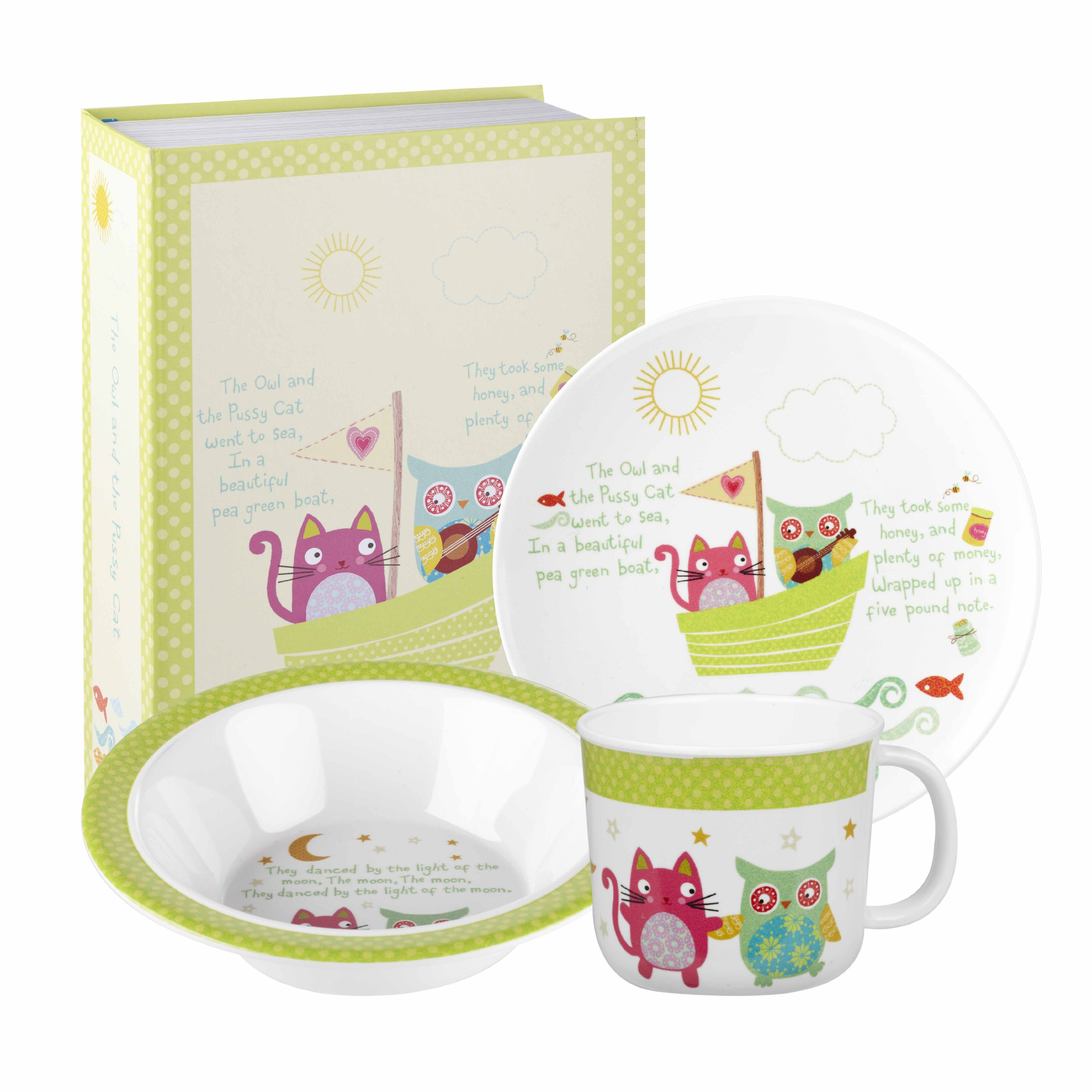 Little Rhymes Owl and the Pussycat Melamine 3-Piece Childrens Breakfast Set, Multi-Coloured