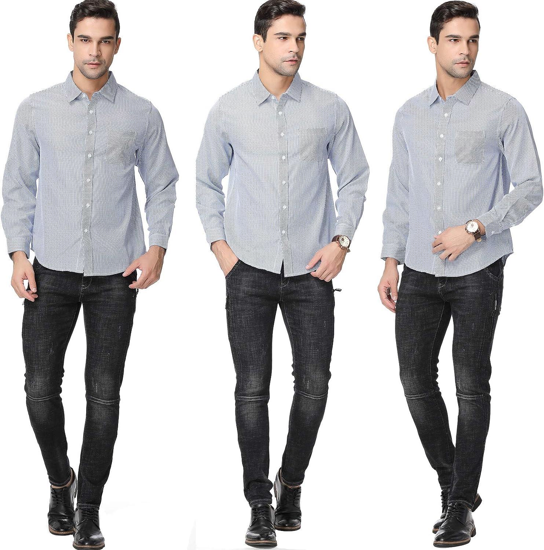 Black, XX-Large GUXITE Mens Casual Striped Shirt Plaid Dress Shirt
