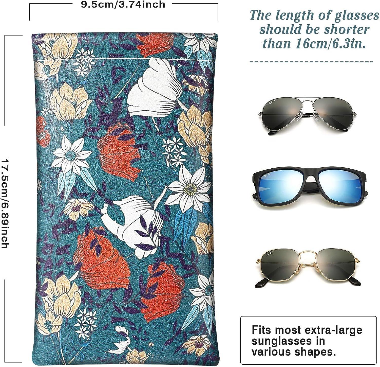 2 pezzi MoKo Custodia per Occhiali Astuccio Occhiali da Sole in PU Pelle Astuccio Morbido da Viaggio per Occhiali con Panno per Pulizia per Donna Uomo