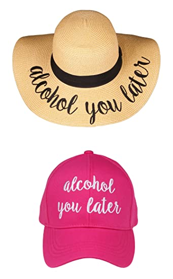 Funky Junque Women s Adjustable Embroidered Sayings Beach Sun Hat    Baseball Cap Bundle - Pink - 188bb2edd09
