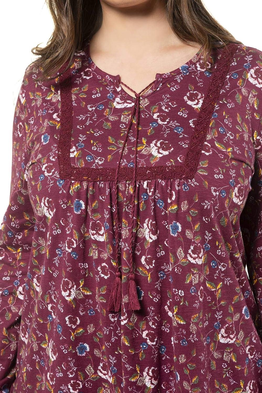 A-Linie Camisa Manga Larga para Mujer Ulla Popken Shirt Mit Biesen