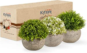 Kitzini Faux Plants Indoor Mini Plants Set – 3 Lifelike, Green and White Artificial Potted Plants Small Fake Plants – Pet-Safe Plastic Plants with Fake Potted Plants – Small Artificial Plants Indoor