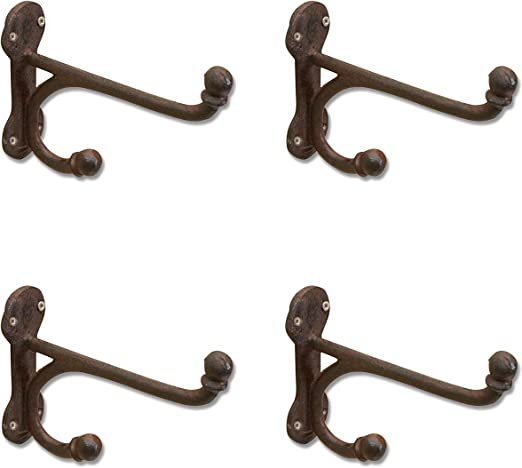 "4 WHITE ANTIQUE-STYLE DOUBLE BALL COAT HOOKS 4/"" CAST IRON rustic wall shab chic"
