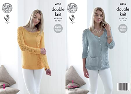 096c33993e75 Image Unavailable. Image not available for. Colour  King Cole 4835 Knitting  Pattern Womens Raglan Sweater and Cardigan in King Cole Bamboo Cotton DK