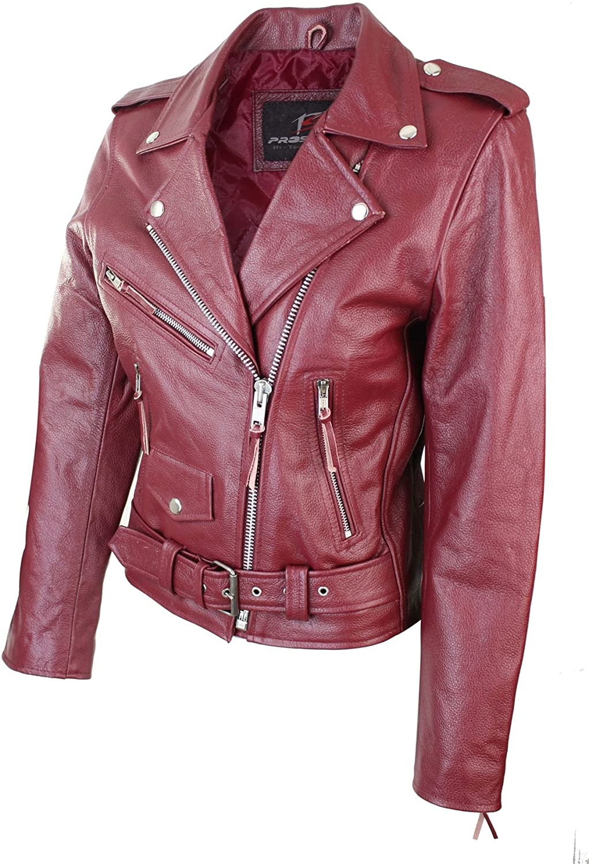 Speedpro Brando Ladies Women Burgundy Classic Biker Motorcycle Motorbike Hide Leather Jacket