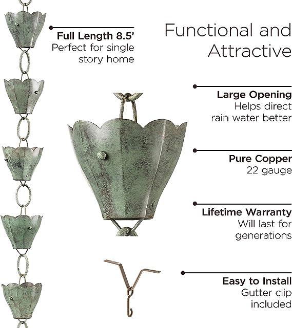 8-1//2 Blue Verde Copper Good Directions 463V1-8 13 Cup Tulip Rain Chain