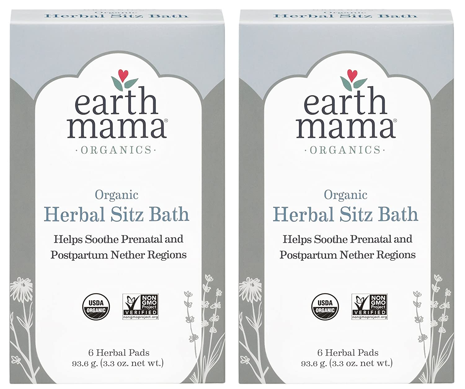 Pack of 2 x Earth Mama Angel Baby Postpartum Bath Herbs - 6 Pads
