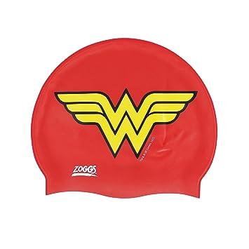 Zoggs Kids Wonder Woman – Gorro de Natación, Color Rojo/Amarillo, Talla
