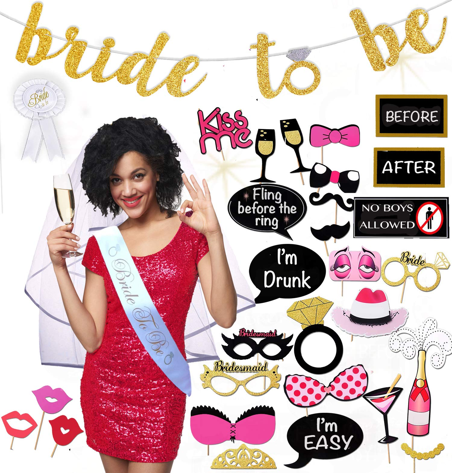 Bachelorette Party Decorations Kit | Ultimate Bridal Shower Supplies Pack All-In-One 36 Piece Bride To Be Package | Bride Sash, Veil, Badge, Banner, Photo Props by Scapa Pro