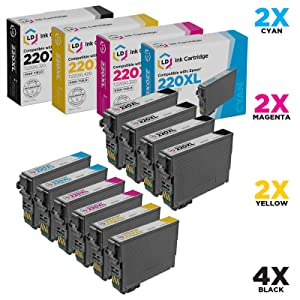 LD Remanufactured Ink Cartridge Replacements for Epson 220XL High Yield (4 Black, 2 Cyan, 2 Magenta, 2 Yellow, 10-Pack)