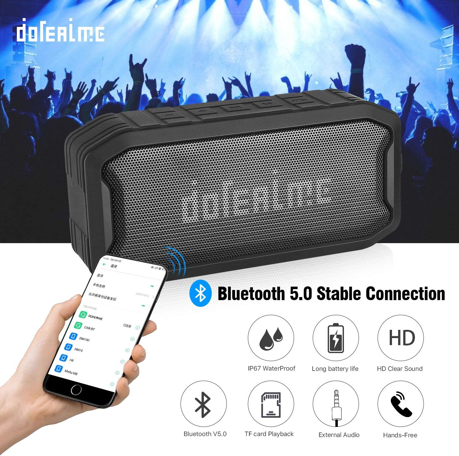 Bluetooth Speakers Outdoor Wireless Portable Speaker,IP67 Waterproof,16-Hour Playtime,Bluetooth 5.0,Clear Stereo Sound Rich Bass,Perfect for Camping,Beach,Sports,Pool Party,Shower
