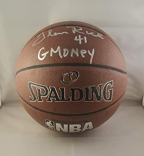 80fc1c5a95d Glen Rice Autographed Signed Basketball Heat Lakers Hornets JSA at ...