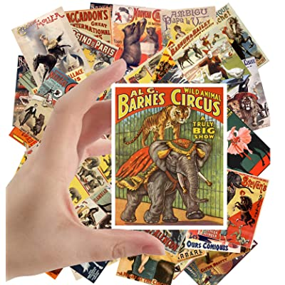 "Large Stickers (24 pcs 2.5""x3.5"") Vintage Circus Animals and Horses Vintage Posters: Toys & Games"