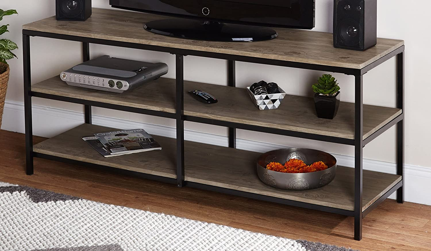 Target Marketing Systems Piazza Collection Modern Reclaimed Wooden TV Stand With Open Shelves, Wood Metal