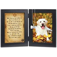 KCRasan Pet Memorial Picture Frame - Solid Wood Dog Picture Frame and Dog Memorial Gifts - Pet Loss Gifts Dog Rememberance Frame with Pawprints Left by You Poem