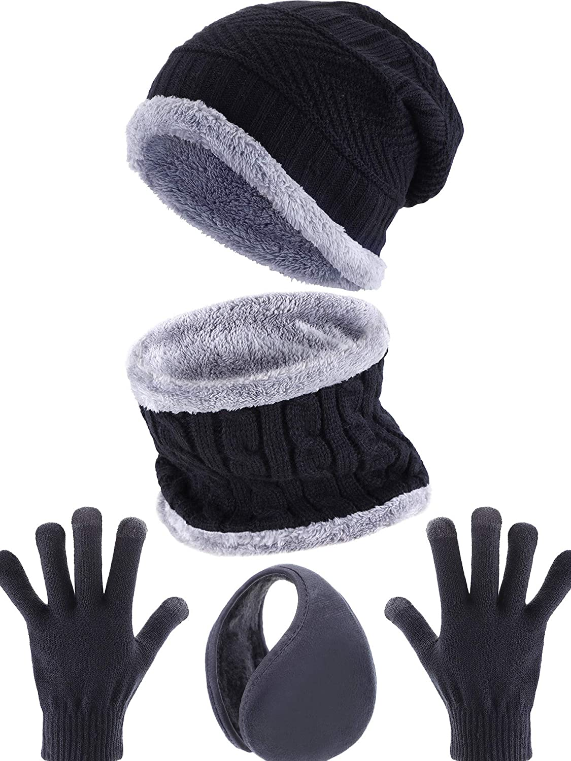 f34b035bb82 Tatuo 4 Pieces Ski Warm Set includes Winter Hat Scarf Warmer Gloves Winter  Outdoor Earmuffs for Adults Kids (Set 1)  Amazon.ca  Clothing   Accessories