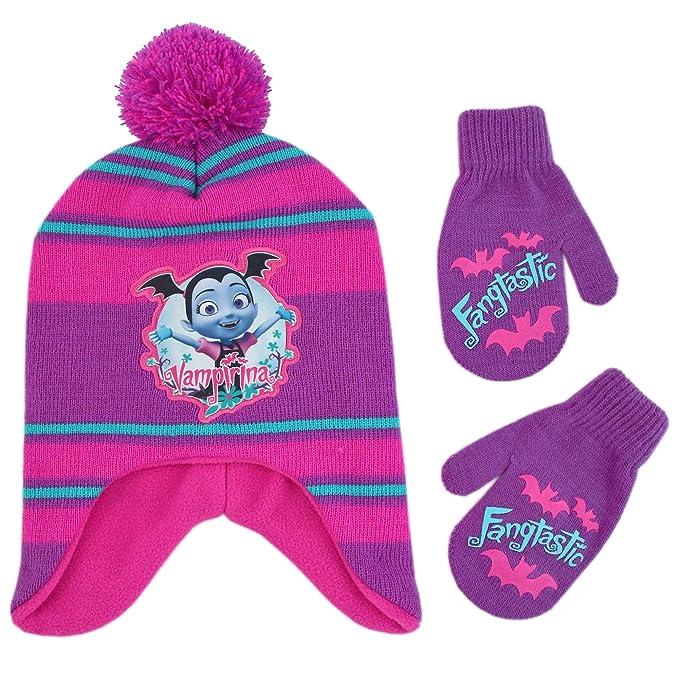 Disney - Conjunto de sombrero y manoplas para niñas con diseño de vampina c529a402fe0