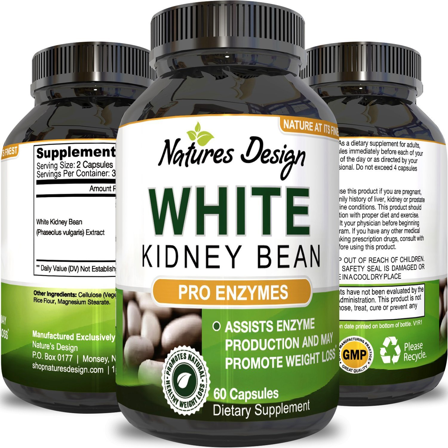 Pure White Kidney Bean Extract- 100% Effective and Optimized for Weight Loss - Carb Blocker and Prevents Fat From Forming - USA Made By Natures Design by Natures Design