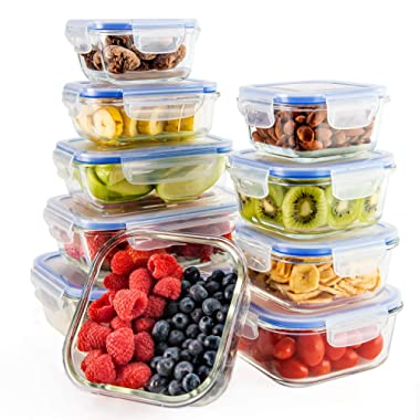 Glass Food Storage Containers Set with Airtight Locking Lids & Free Ice Pack, Zestkit Portion Control Glass Meal Prep Lunch Containers, BPA Free Oven Freezer Dishwasher Microwave Safe (10 Pieces)