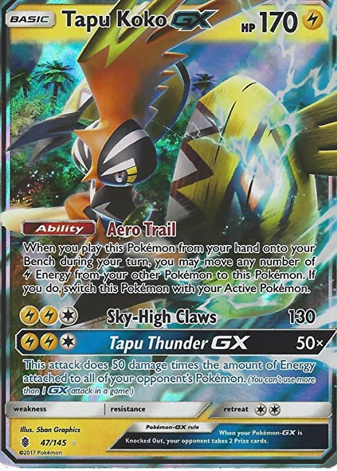 Pokémon Soleil et Lune Guardians Rising Tapu Koko GX 47/145 ...