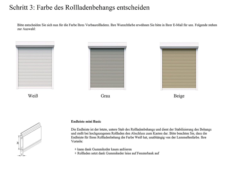 PVC-Kunststoff-Profil 37 mm 801-1000 mm x 1001-1200 mm halbrunder Rollladenkasten B x H jarolift Basic Vorbaurollladen Rolladen auf Ma/ß Gurtzug