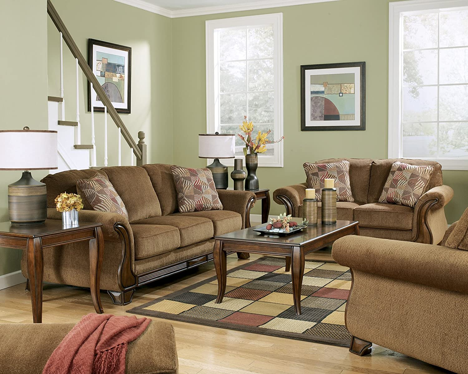 Amazon com signature design by ashley montgomery living room set with sofa loveseat living room chair and coffee table set kitchen dining
