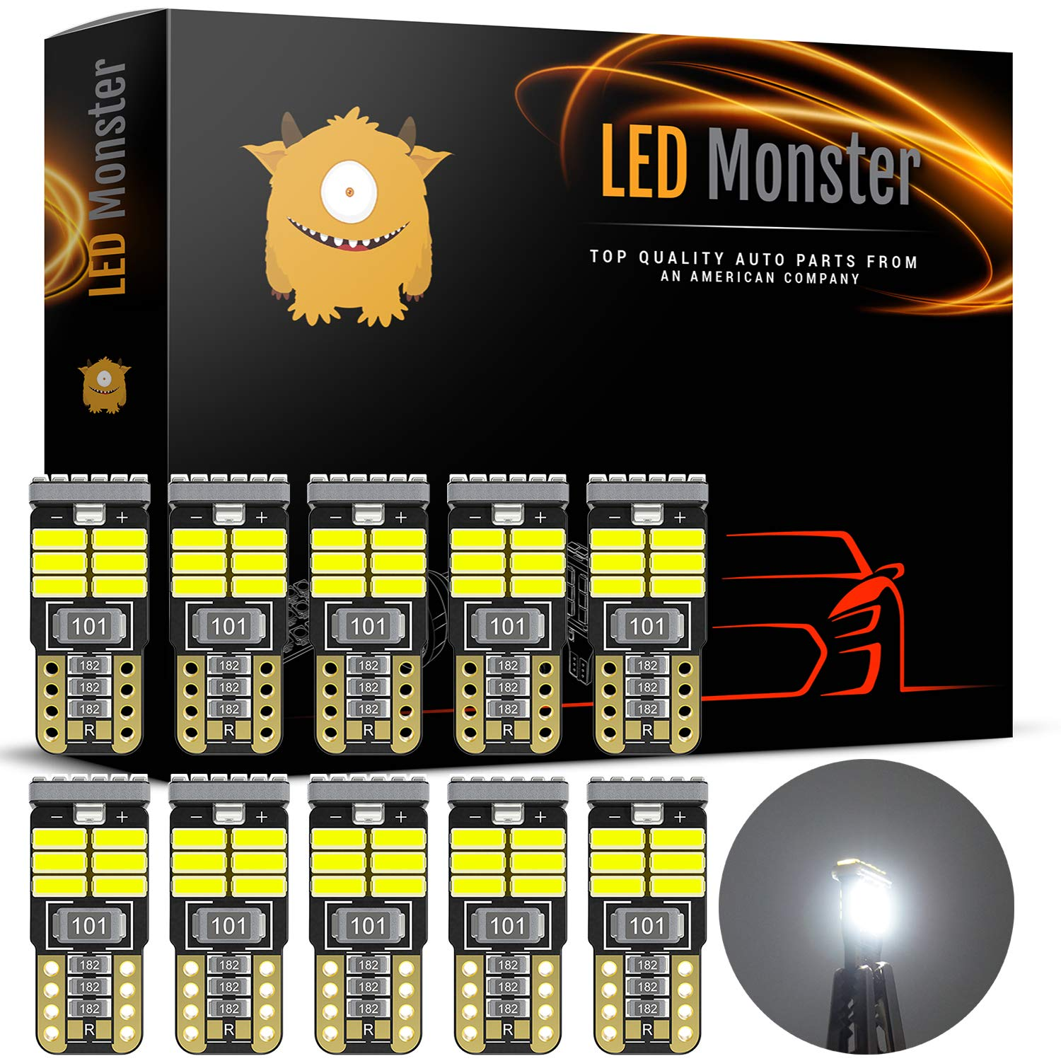 LED Monster 10pcs T10 Wedge Best Value Super Bright High Power 3014 18-SMD 194 168 2825 W5W White LED Bulb Lamp for Car Truck Interior Dome Map Door Courtesy License Plate Lights by LED Monster