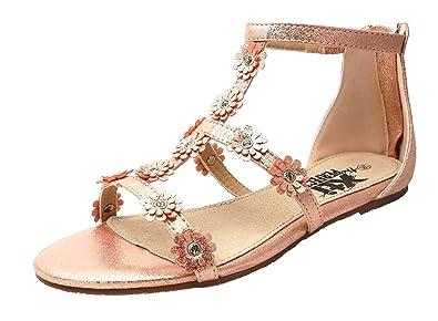 55f5b3a62e6 Xti Girls Rose Gold Metallic Sandals Flower Trim  Amazon.co.uk ...