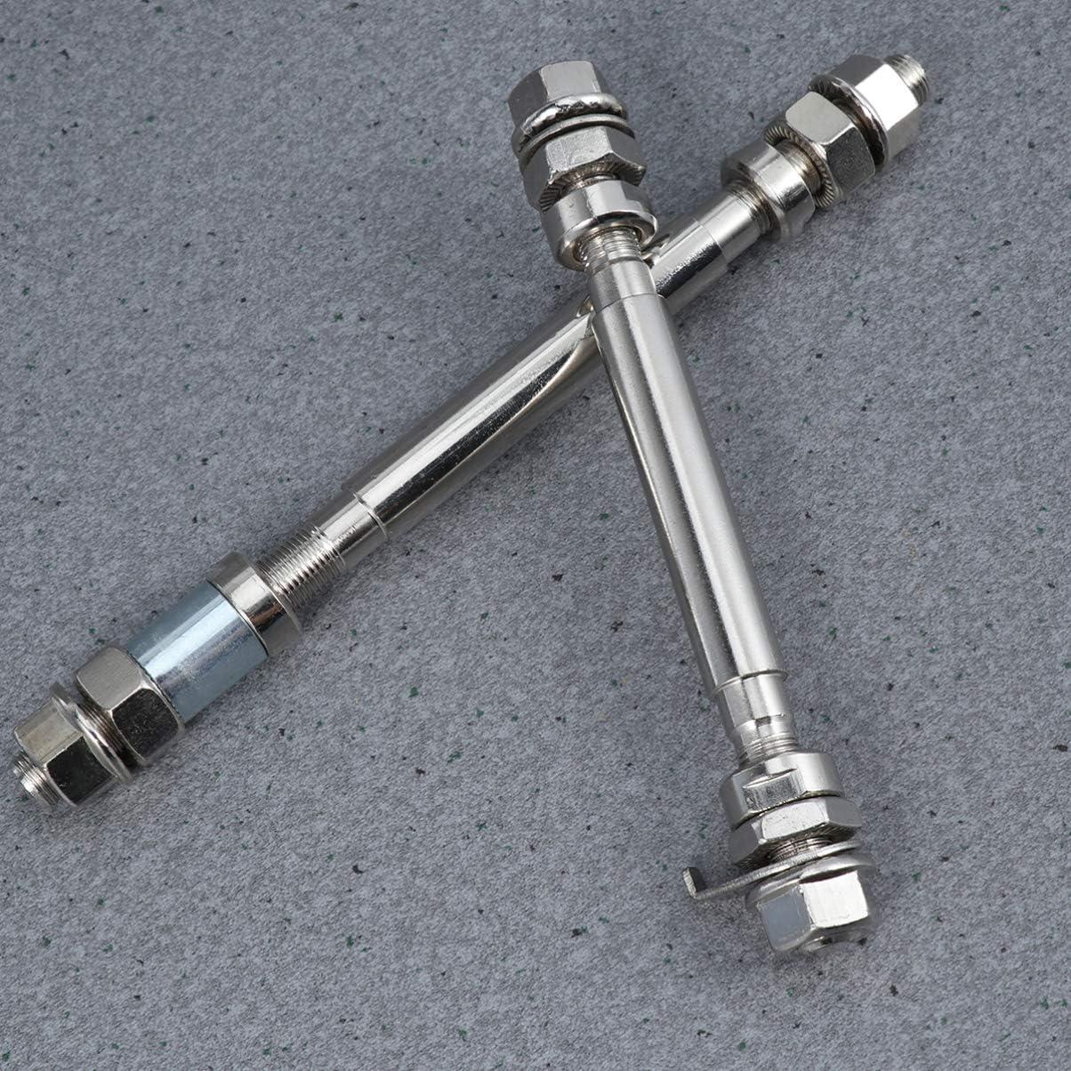 BESPORTBLE 2Pcs Bike Wheel Hub Axle Non Quick Release Lock Skewers Set For Front Rear Bike Repair Tool Silver