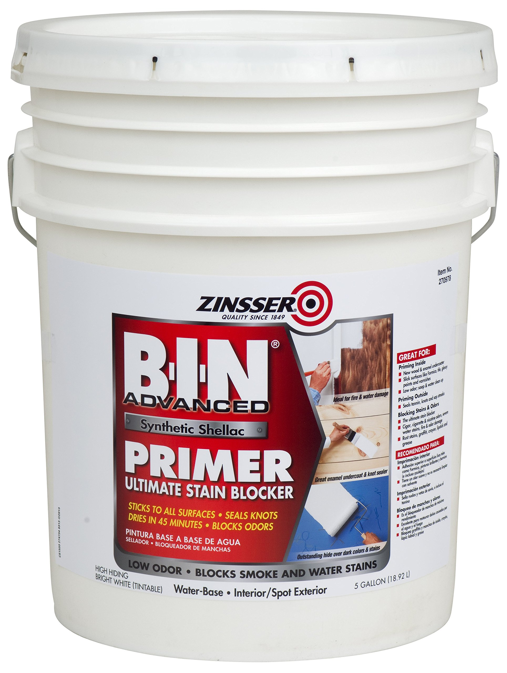 Rust-Oleum 270978 White Zinsser B-I-N Advanced Synthetic Shellac Primer, 5 gal Pail