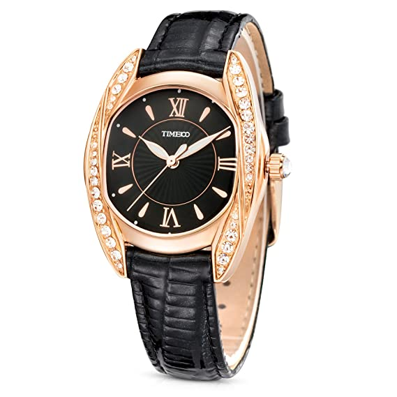 Time100 Lujo reloj de diamantes pulsera cuarzo Mujer Reloj de negro