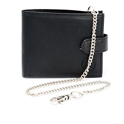quality design shop for genuine latest trends of 2019 Men's Soft Smooth Black Leather Chain Wallet Coins Cards Bi Fold Wallet,  Security Travel Wallet