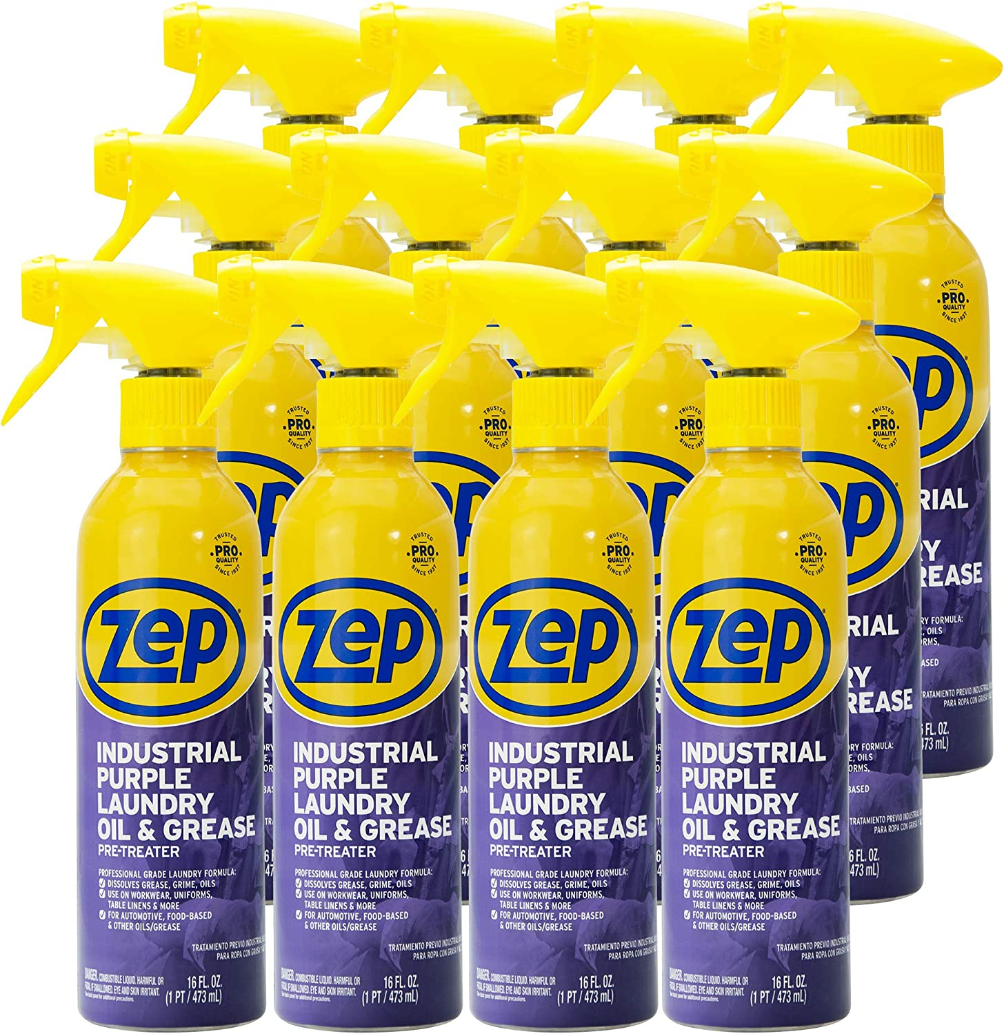 Zep Industrial Purple Laundry Oil and Grease Stain Lifter and Pre-Treater (Case of 12) - For Industrial Grease and Food Grease