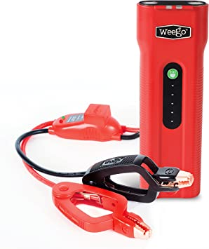 NEW 2019 Model 2500 Peak 600 Cranking Amps High Performance Lithium Ion Jump Starter Quick Charges Phones 600 Lumen LED Flashlight Water Resistant WEEGO 66.1 Jump Starting Power Pack