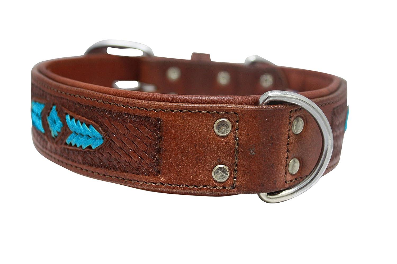 Leather Dog Collar. 22  x 1.5 , Western Tooled Brown bluee Turquoise Rawhide Weaving silverinean Cowhide. Stainless Steel. (Sierra) Necks  16.5  to 20